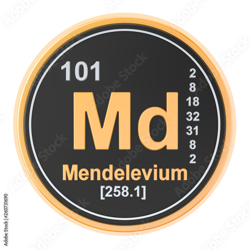 Mendelevium Md chemical element. 3D rendering Wallpaper Mural