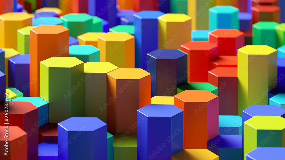 Fototapety, obrazy: Struktur aus vielen bunten Hexagonen
