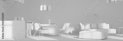 Vászonkép Offene Wohnküche mit Essbereich in weiß
