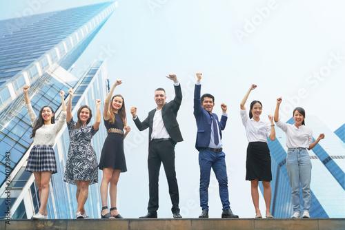 Carta da parati  International teamwork cheer up with blue theme background business building