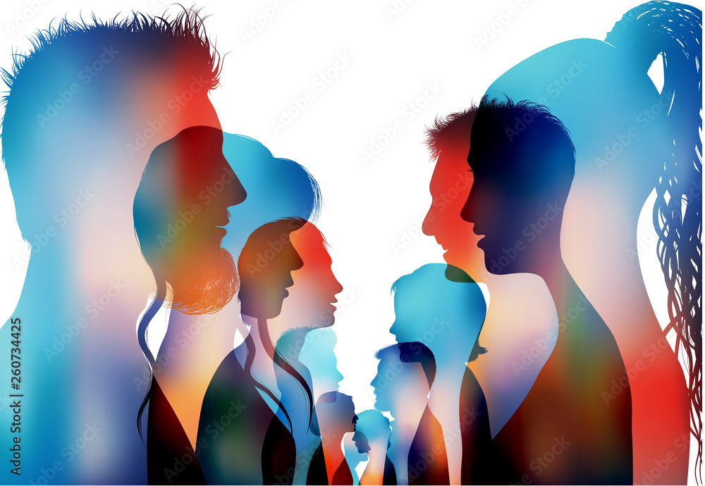 Fototapety, obrazy: Group of isolated colored silhouette people talking. Dialogue of profile people. Communication between the crowd. Discussion or comparison between friends. Conference or debate. Multiple exposure