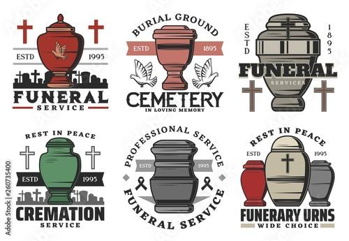 Foto Funeral service, funerary urn columbarium