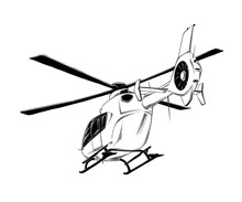 Vector Drawing Of Helicopter In Black Color, Isolated On White Background. Drawing For Posters, Decoration And Print. Vector Illustration