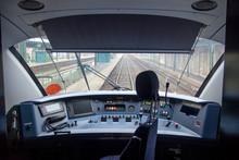 Empty Train Cabin Of Driver. I...