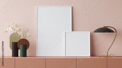 Obraz Empty posters in interior 3D render - fototapety do salonu