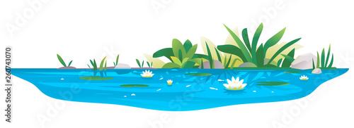 Fotografía Small blue decorative pond with white water lilies, bulrush plants, stones aroun