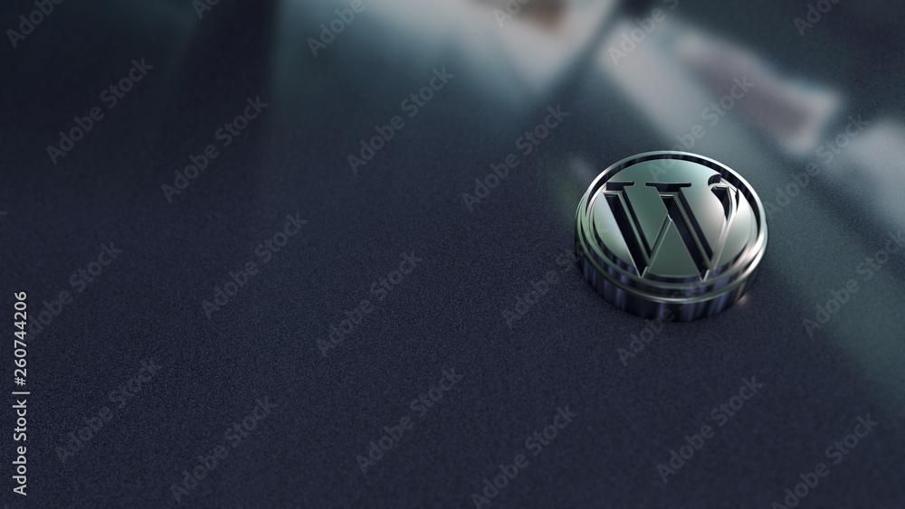 Fototapety, obrazy: Wordpress symbol close up - metal shape on metallic background. Render 3D.