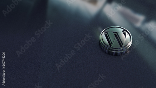 Fotografia  Wordpress symbol close up - metal shape on metallic background