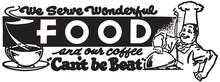 We Serve Wonderful Food  - Retro Ad Art Banner