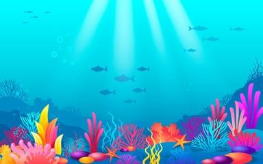 Fototapeta na wymiar Ocean bottom with color corals reef