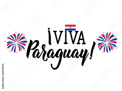 Photo Viva Paraguay, traditional traditional paraguay greetings, lettering vector illu