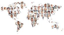 Geschäftsleute Portrait Collage Auf Weltkarte