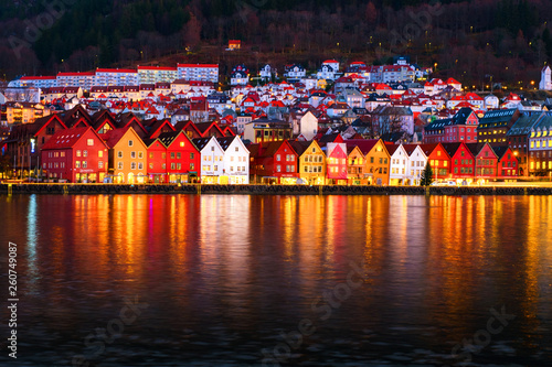 Fotografie, Tablou  View of harbour old town Bryggen in Bergen, Norway during the night