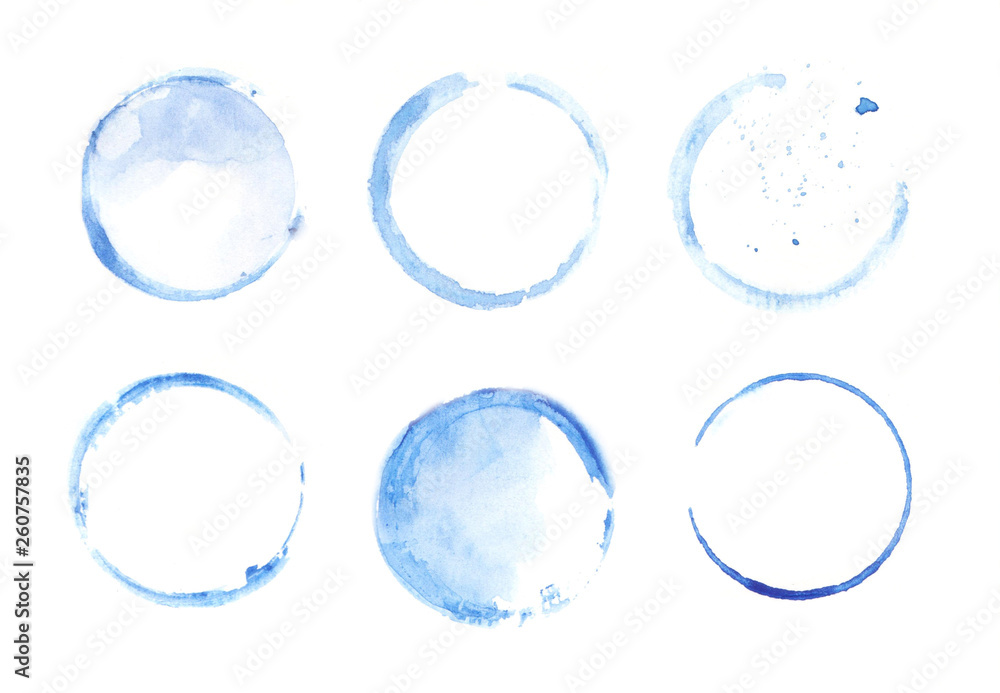 Fototapety, obrazy: Watercolor set of round frames