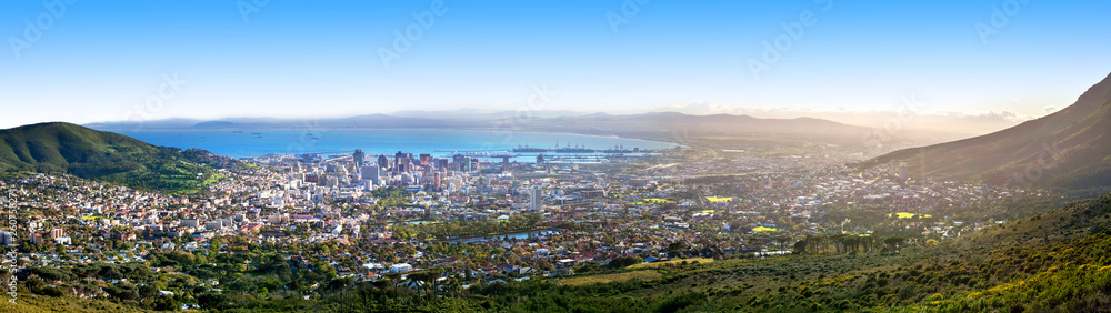 Obraz Cape Town beautiful panoramic top view from Table Mountain, scenery panorama of city and sea port harbor on sunny morning, South Africa, tourist banner design layout, copy space fototapeta, plakat