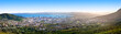 canvas print picture - Cape Town beautiful panoramic top view from Table Mountain, scenery panorama of city and sea port harbor on sunny morning, South Africa, tourist banner design layout, copy space