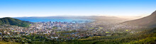 Cape Town Beautiful Panoramic Top View From Table Mountain, Scenery Panorama Of City And Sea Port Harbor On Sunny Morning, South Africa, Tourist Banner Design Layout, Copy Space
