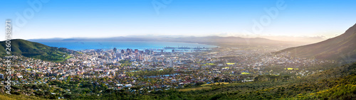 Fotografie, Obraz Cape Town beautiful panoramic top view from Table Mountain, scenery panorama of