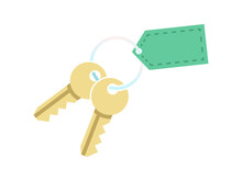 Key With Blank Tag Keychain. Icon Of House Home Door Or Car Bunch Golden Keys On Keyring. Concept For Purchase Real Estate Or Realtor Services Sign. Vector Illustration
