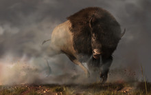 On A Dark And Foggy Prairie In The American West, An Enraged Bison Bull Kicks Up Dust As It Charges. Better Get Out Of The Way Of This Angry Buffalo.  3D Rendering