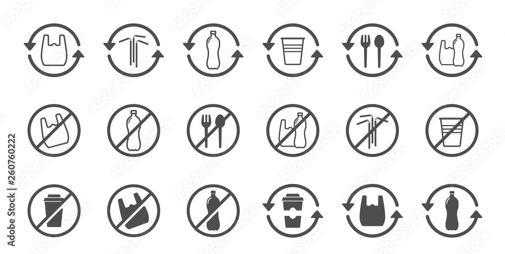 Fototapeta stop using plastic products vector icons isolated on white background. say no to plastic bag. plastic recycling, plastic ban and stop plastic pollution to save environment and ecology of earth