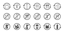 Stop Using Plastic Products Vector Icons Isolated On White Background. Say No To Plastic Bag. Plastic Recycling, Plastic Ban And Stop Plastic Pollution To Save Environment And Ecology Of Earth
