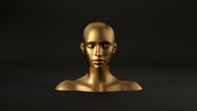 3d Render Of Abstract Mannequin Female Head On Black Background. Fashion Woman. Gold Human Face.