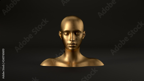 Fotografia, Obraz 3d render of abstract mannequin female head on black background