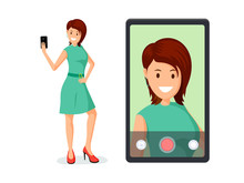 Young Woman Taking Selfie Vector Illustration