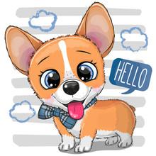 Cartoon Dog Corgi With A Bowtie
