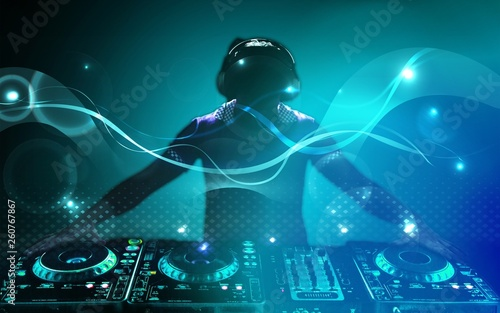 Young headphones dj nightlife entertainment concepts equipment - 260767867