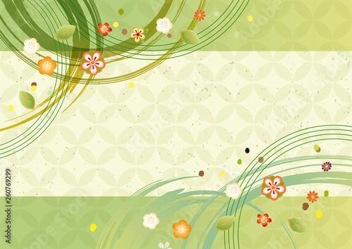 Obraz 緑色の和風パターン - fototapety do salonu