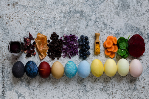 Canvastavla  Homemade naturally dyed Easter eggs