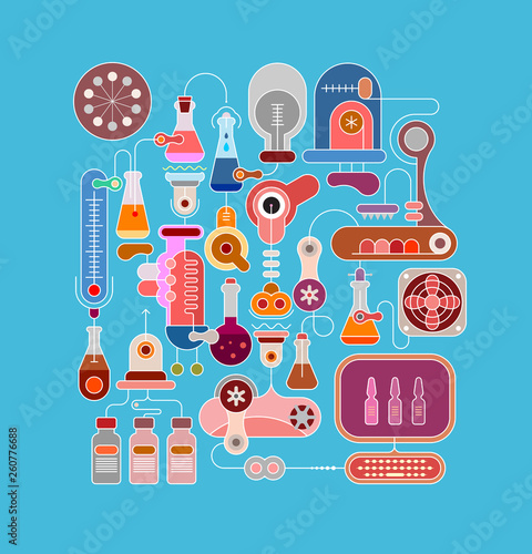 Staande foto Abstractie Art Research Laboratory Equipment vector illustration.