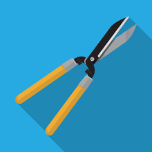 Pruning Scissors Hedge Shears Clippers With Long Wooden Handle For Garden,Vector Flat Design.