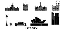 Australia, Sydney Flat Travel Skyline Set. Australia, Sydney Black City Vector Panorama, Illustration, Travel Sights, Landmarks, Streets.