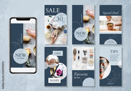 Beauty And Spa Social Media Design Layout With Blue Accents Buy This Stock Template And Explore Similar Templates At Adobe Stock Adobe Stock