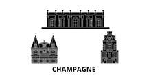 France, Champagne Flat Travel Skyline Set. France, Champagne Black City Vector Panorama, Illustration, Travel Sights, Landmarks, Streets.