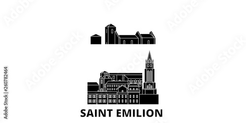 Canvas Print France, Saint Emilion  flat travel skyline set