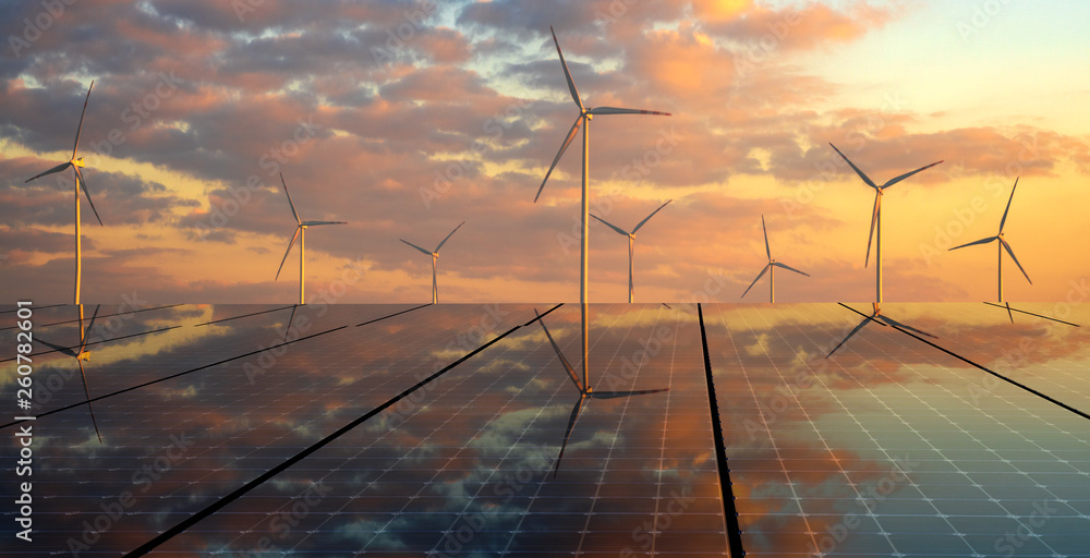 Fototapeta clean energy concept, photovoltaic panels and wind turbines in the light of the rising sun