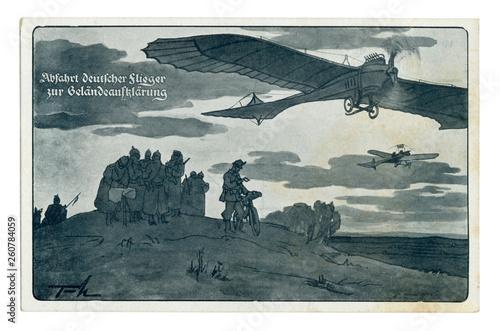 German historical postcard: The German aviators received