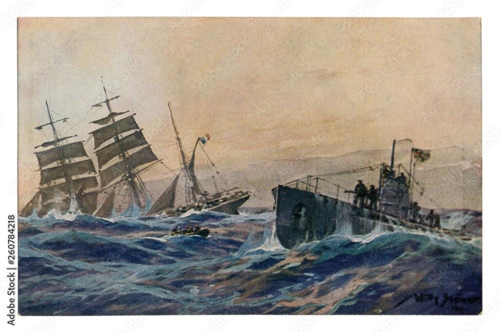 Photo  German historical postcard: French bark sunk by a German submarine