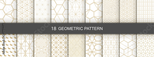 obraz PCV Set of Geometric seamless patterns. Abstract geometric hexagonal graphic design print 3d cubes pattern. Seamless geometric cubes pattern.