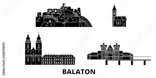 Photo  Hungary, Balaton flat travel skyline set