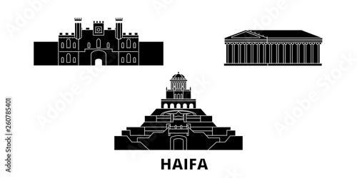 Izrael, mieszkanie w podróży w Haifa Panoramę ustawić. Izrael, Hajfa miasto wektor czarny panorama, ilustracja, Miejsca turystyczne, zabytki, ulice.
