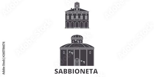 Canvas-taulu Italy, Sabbioneta flat travel skyline set