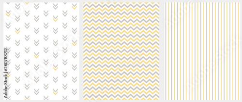 Set of 3 Geometric Seamless Vector Patterns Canvas Print