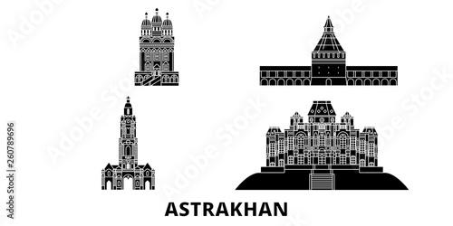 Russia, Astrakhan flat travel skyline set Canvas Print