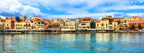 Picturesque old town of Chania. Landmarks of Crete island. Greece