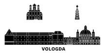 Russia, Vologda Flat Travel Skyline Set. Russia, Vologda Black City Vector Panorama, Illustration, Travel Sights, Landmarks, Streets.
